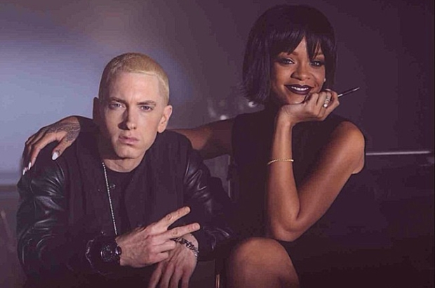 Eminem and Rihanna on set of 'The Monster' video. (Eminem/Instagram)